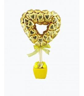 شکلات گلدانی لاکچری رویال قلب طلایی